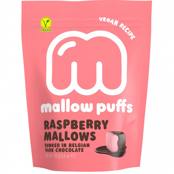 mallow puffs raspberry mallows dinked in belgian chocolate 100gr vegan lactosevrij