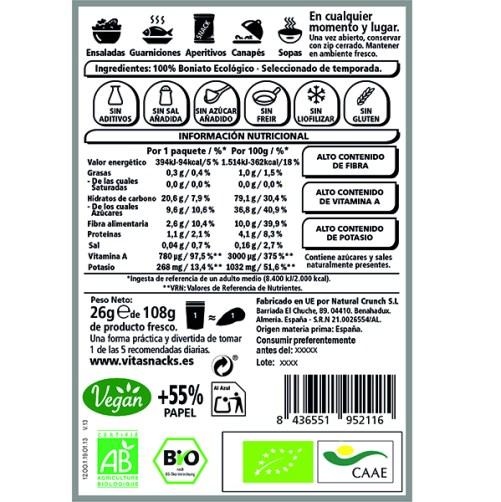 vitasnack sweet potato crunch raw food vegan 26gr