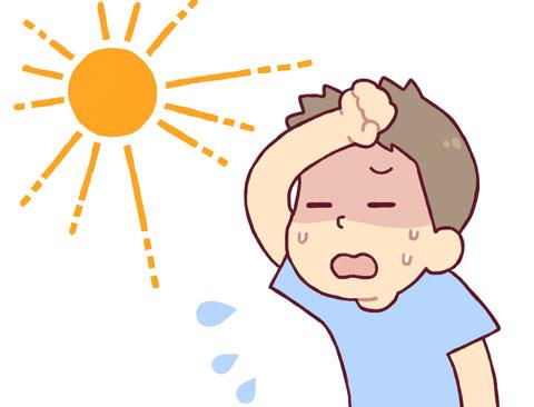 太陽熱で脱水状態になりかかっている人