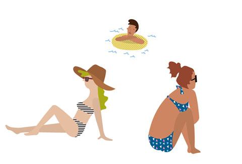 海辺で直射日光に当たっている人々