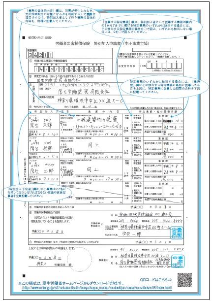 労働者災害補償保険の特別加入申請書(中小事業主)の書き方
