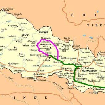 Carte Nepal map trajet