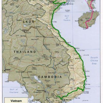 Vietnam map carte notre trajet