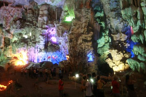 Huge caves in Halong bay