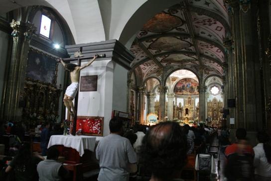 Inside a big busy church