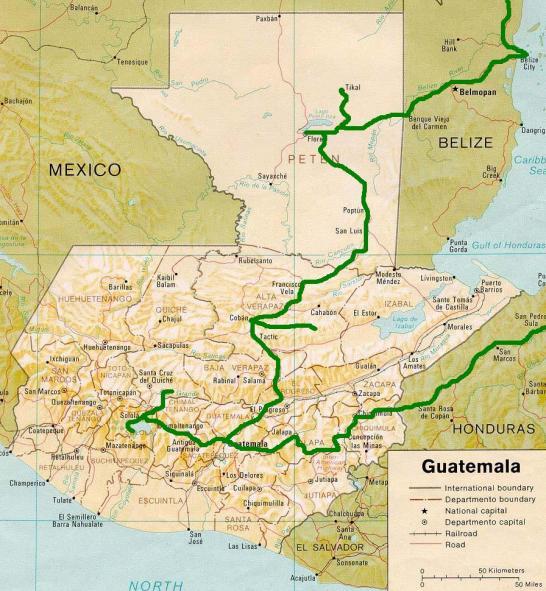 Map Guatemala carte Guatemala itineraire 15 jours