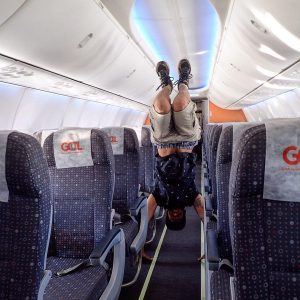 Handstand on a plane