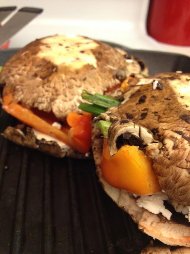 Stuffed Portobello Mushroom on my Le Creuset Panini Grill