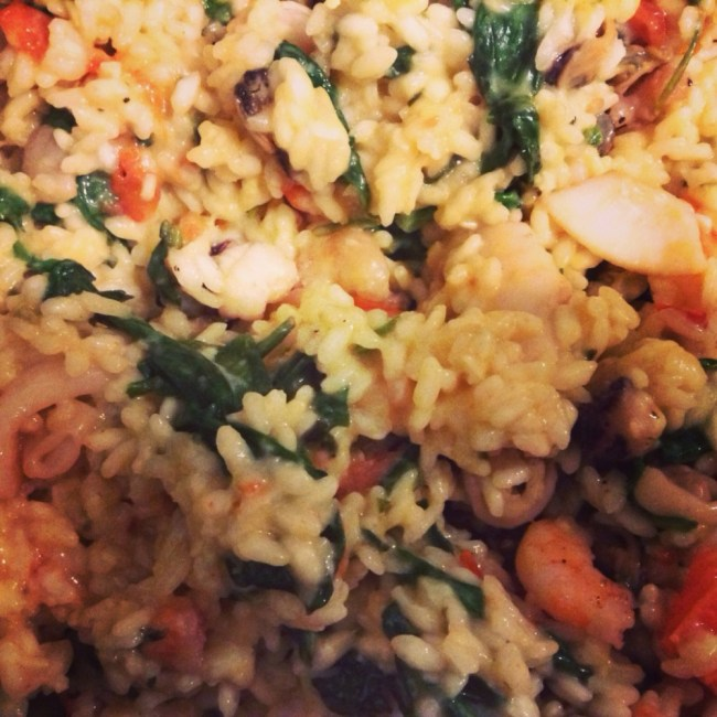 Spinach and Tomato-Basil Seafood Risotto