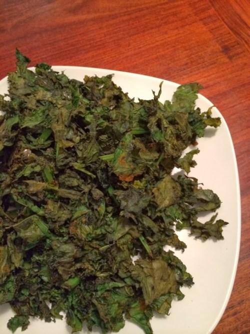 Tumeric, Ginger and Garlic Kale Chips