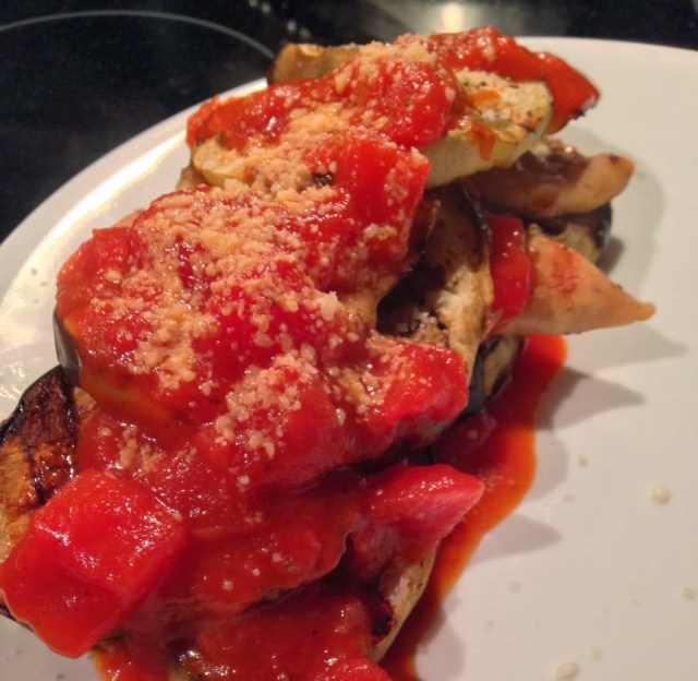 Guest Post: Grilled Squash and Chicken Stacks with Fire Roasted Tomato Sauce