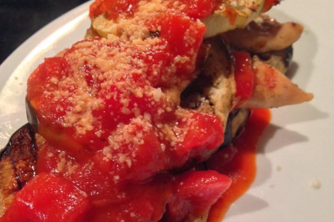 Guest Post: Grilled Eggplant and Chicken Stacks with Fire Roasted Tomato Sauce