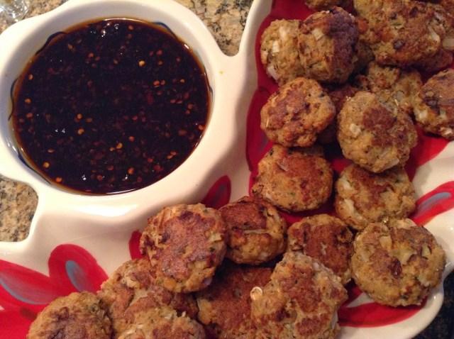 Tapas Party: Mini Salmon Cakes with Chili Garlic Dipping Sauce