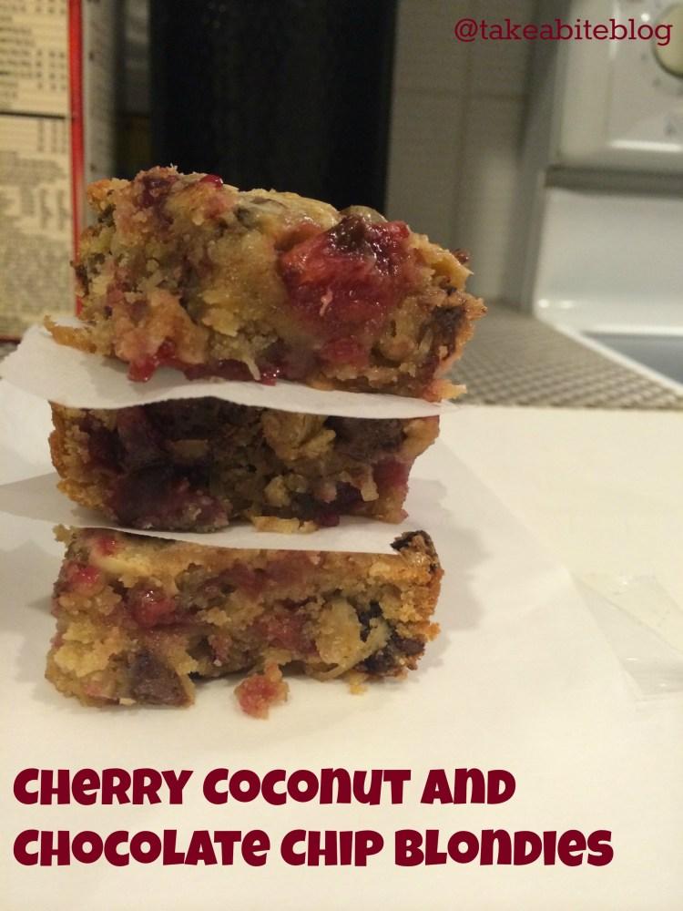Cherry Coconut and Chocolate Chip Blondies