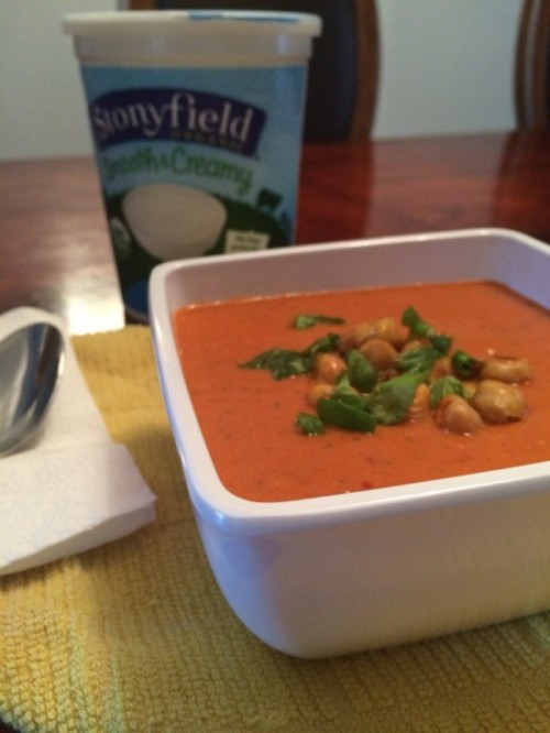 Roasted Red Pepper Greek Yogurt Gazpacho