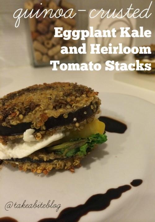 Quinoa-Crusted Eggplant and Heirloom Tomato Stacks #winePW
