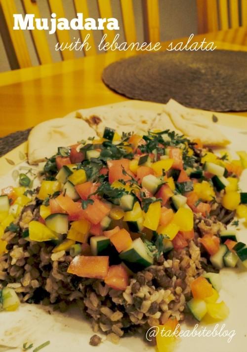 mujadara with lebanese salata