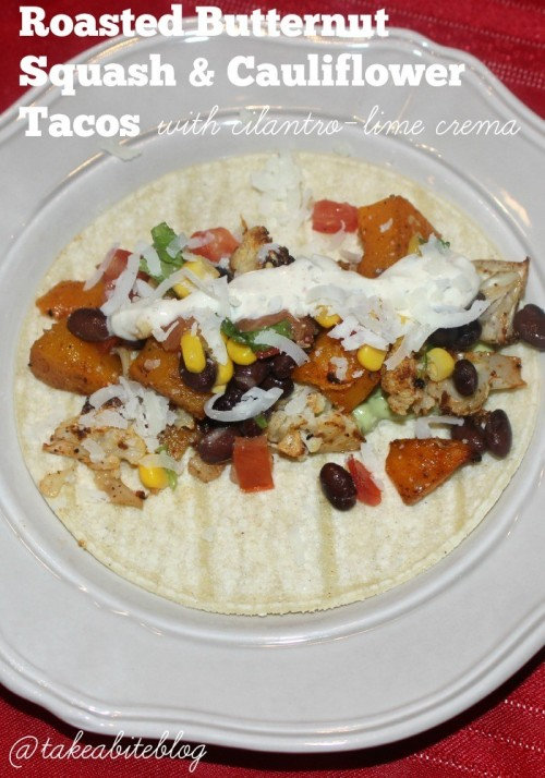 Roasted Butternut Squash and Cauliflower Tacos with Cilantro-Lime Crema