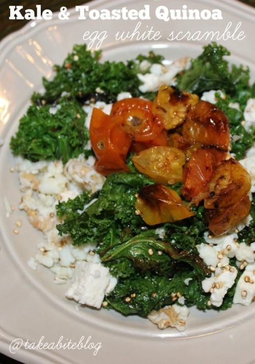 Kale and Toasted Quinoa Egg White Scramble #Brunchweek