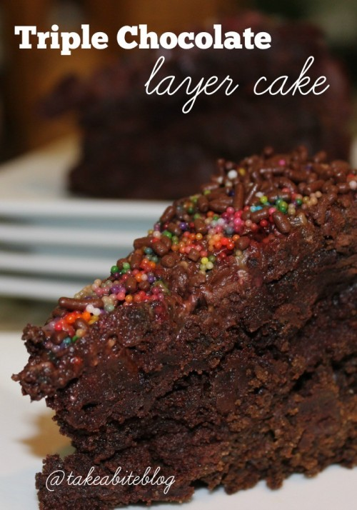 Triple Chocolate Layer Cake #SundaySupper