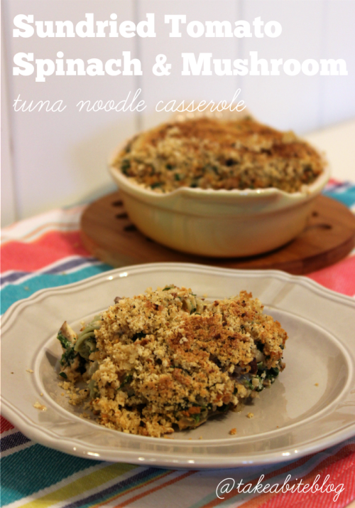 Sundried Tomato Spinach and Mushroom Tuna Noodle Casserole #TunaStrong #CG