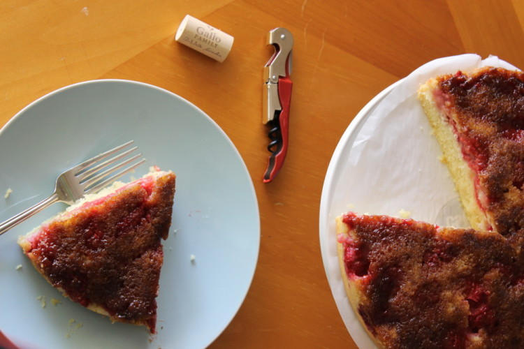 Raspberry Upside Down Cake #SundaySupper