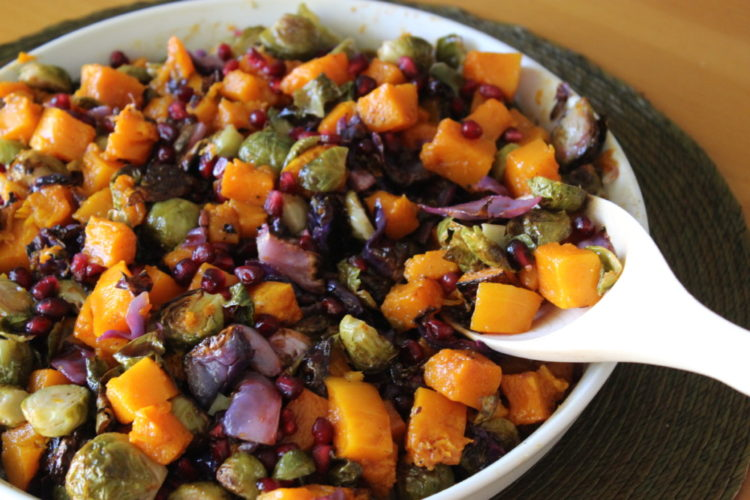 Roasted Butternut Squash and Brussels Sprouts with Pomegranate