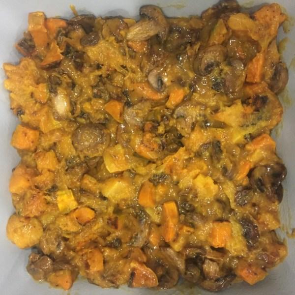 Squash and Mushroom Gratin with Granola Topping