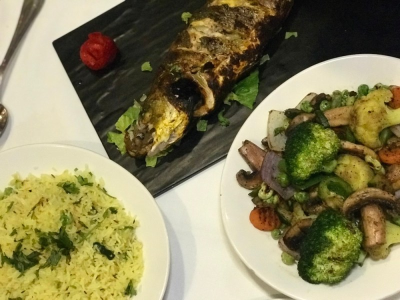 Tanjore Indian Cuisine, Whole Branzino and sides