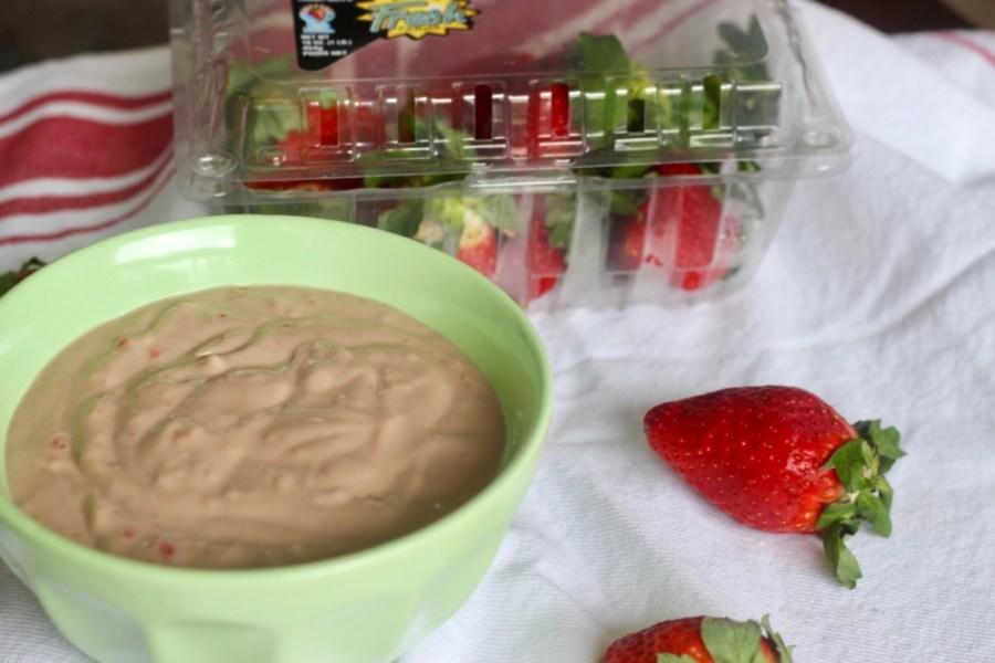 Vegan Chocolate-Covered Strawberry Cheesecake Dip with Fresh From Florida Strawberries