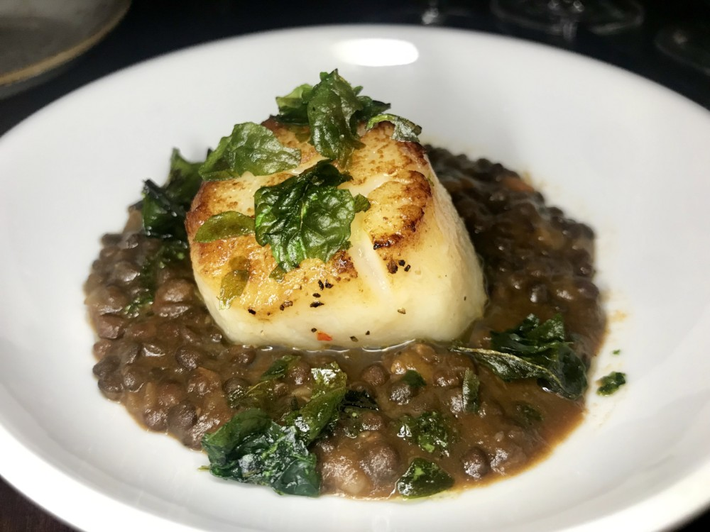 Galley at Hilton West Palm Beach, Lentil Soup with Scallop and Fried Spinach