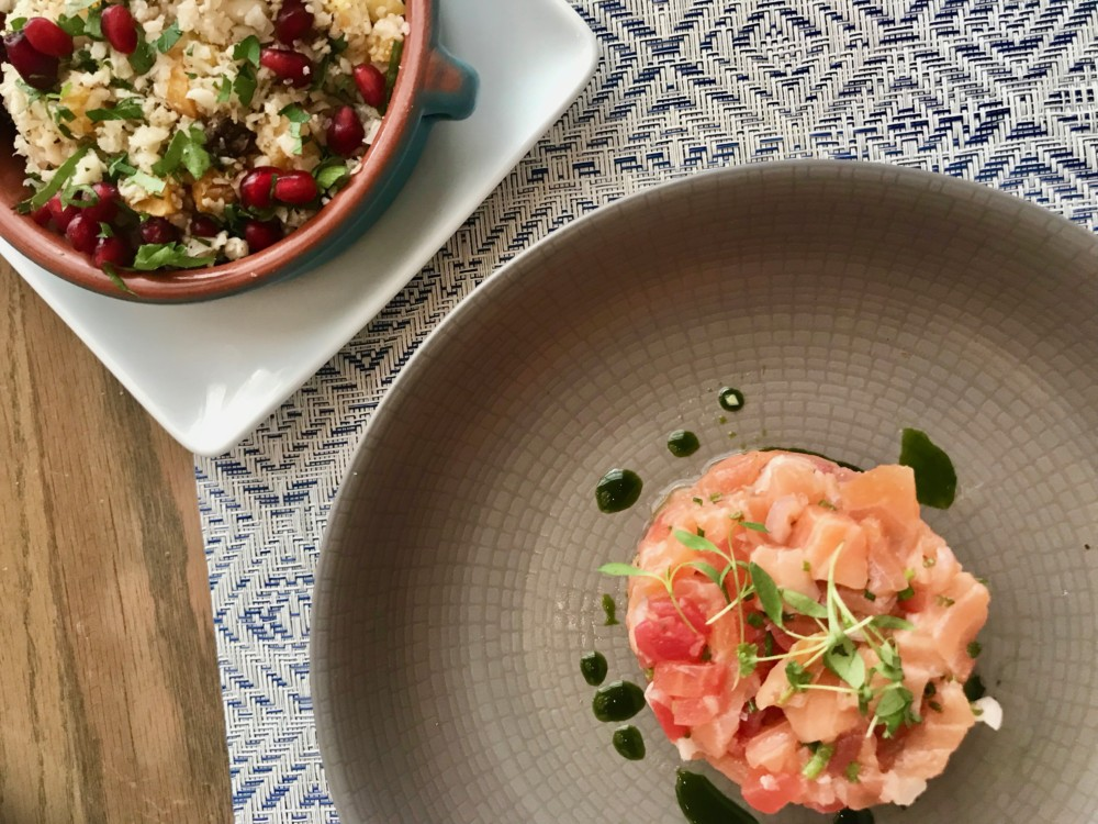 Boulud Sud Miami, Salmon Tartar and Cauliflower Tabbouleh