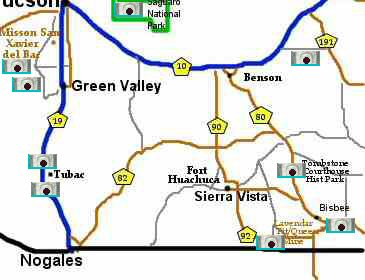 Southern Arizona Map pictures tucson area
