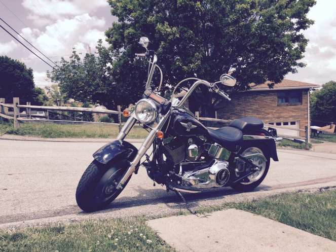 A black Harley Davidson fat boy motorcycle sits in the sun.