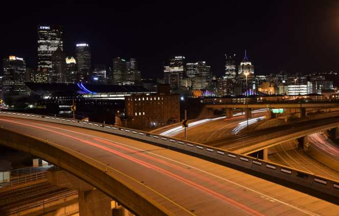 downtown pittsburgh north shore northside highway ramps light trails