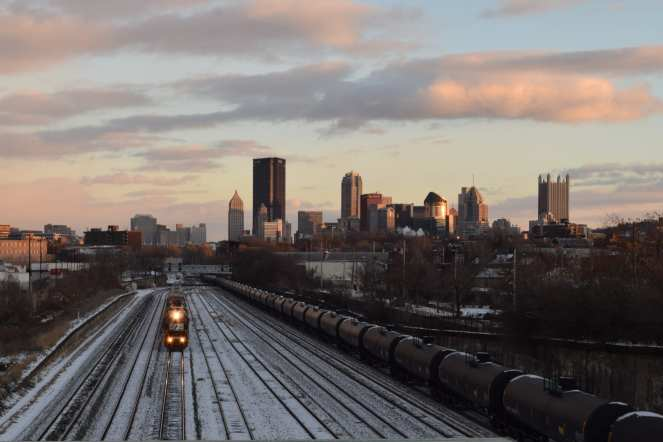 railyard pittsburgh railroad trains golden hour