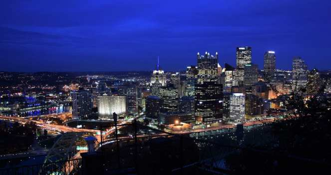 downtown pittsburgh blue hour lights at night