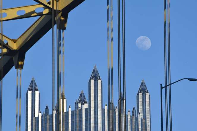 full moon rise pittsburgh ppg building