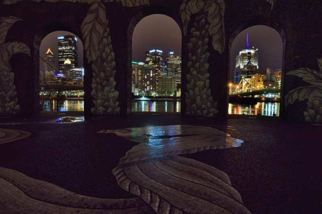 Piazza Lavoro pittsburgh north shore northside downtown skyline framed