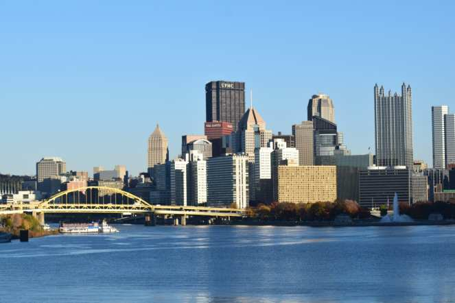 downtown pittsburgh ohio river sunny fall day steelers game gateway clipper