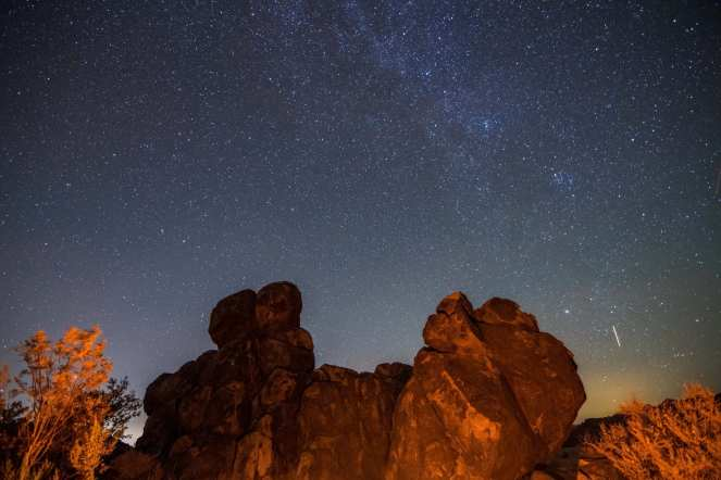 Milky Way galaxy campfire rock formation stars California