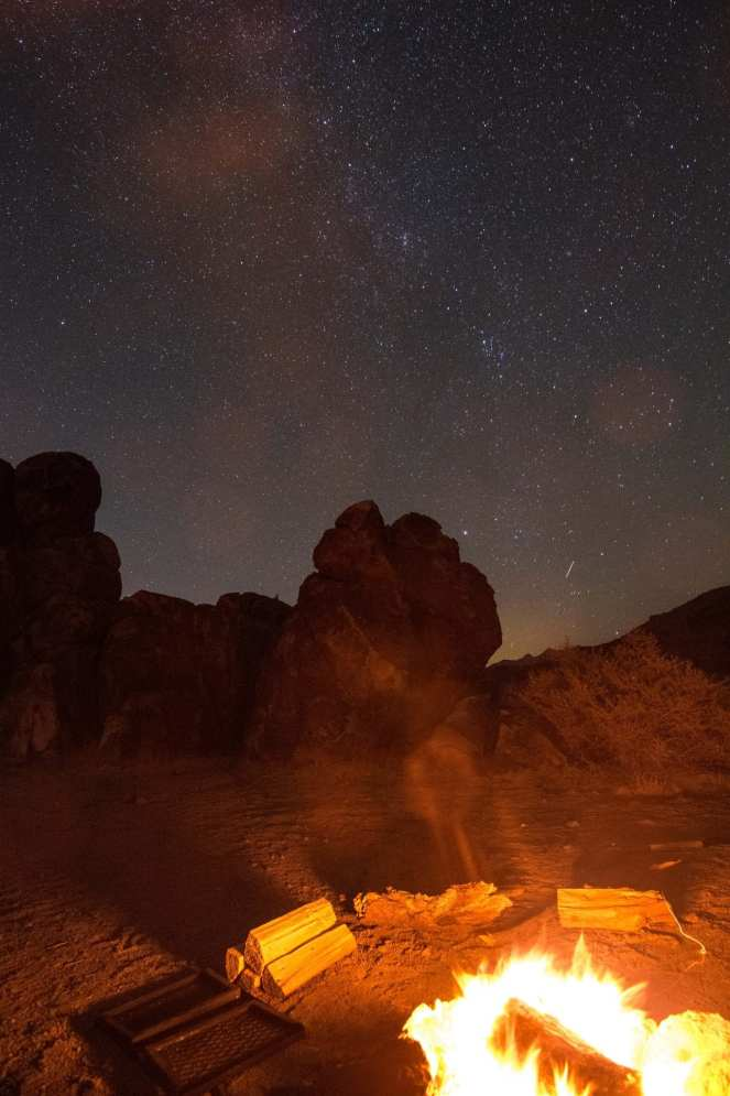 Milky Way galaxy campfire California desert