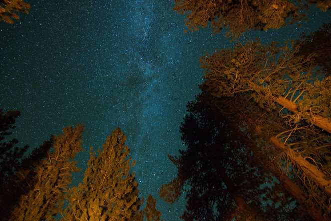 The Milky Way shines over Inyo National Forest near June Lake and Obsidian Dome. Milky Way galaxy. Stars. Starry Sky. Star trail. Satellite.