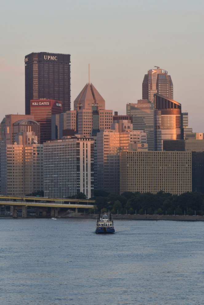 Gateway Clipper city of Pittsburgh sunset