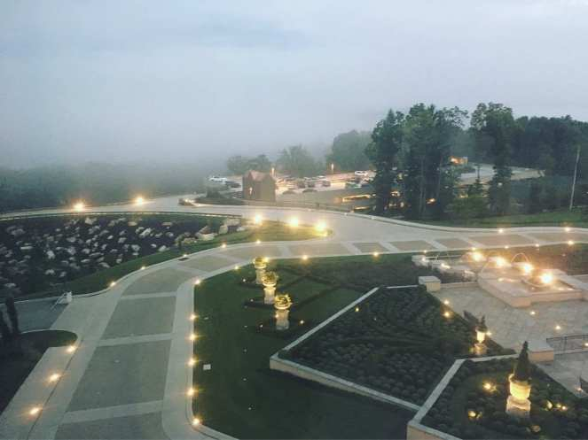 View of the courtyard outside the Chateau at Nemacolin Woodlands