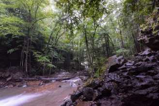 Cucumber Run streams away from the bottom of Cucumber Falls towards the Youghiogheny River in Ohiopyle State Park