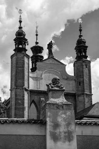 Sedlec ossuary skull wall church exterior in black and white