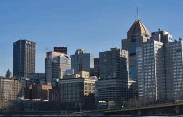 The UPMC Building (the former US Steel Building) and Highmark Building are prominent bookends of the PIttsburgh Skyline