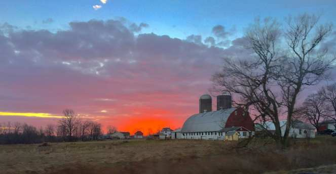 Big Red Barn at Sunset