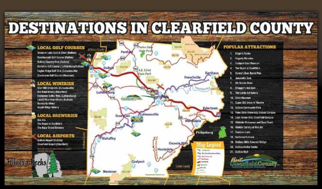 Map of destinations in Clearfield County Pennsylvania
